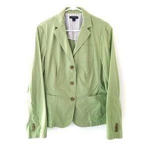 Lands End Lightweight Green Cotton Blazer, Size 14